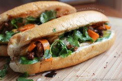 Marinated Pork Banh Mi with Pickled Carrots, Daikon Radish, Cucumber, Cilantro and Aioli