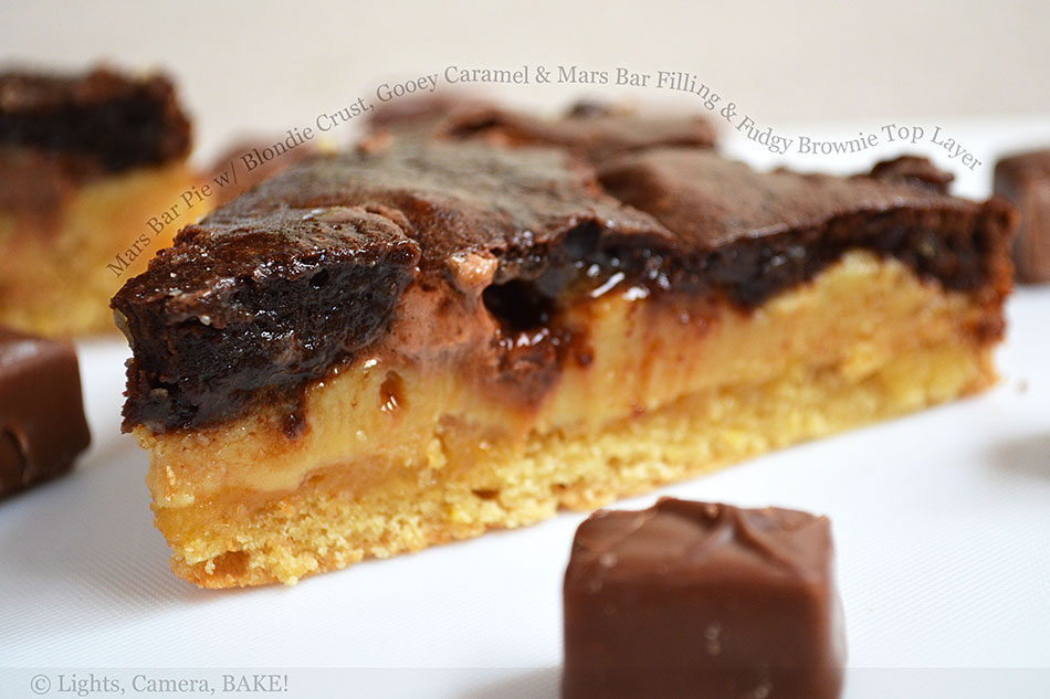 Mars Bar Pie with Blondie Crust, Gooey Caramel and Mars Bar Filling and Fudgy Brownie Top Layer