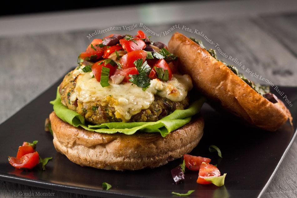 Mediterranean Veggie Burgers with Havarti, Feta, Kalamata-Tomato Relish and Bright Lemon Basil Pesto