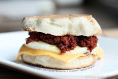 Mexican Chorizo, Egg and Cheese on a Toasted English Muffin
