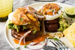 Mexican Eggs Benedict with Sweet Potatoes, Guacamole and Chipotle Hollandaise