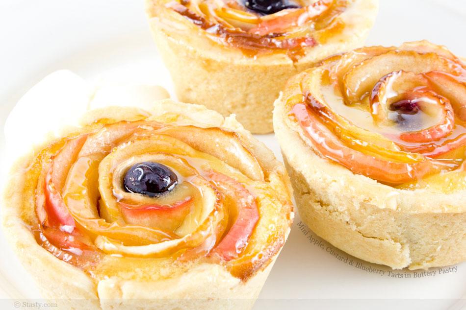 Mini Apple, Custard and Blueberry Tarts in Buttery Pastry