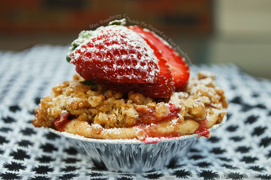 Mini Strawberry Crumble Pie Topped with Ripe Strawberry