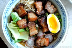 Miso Braised Pork Belly Noodle Soup with Soft Boiled Egg