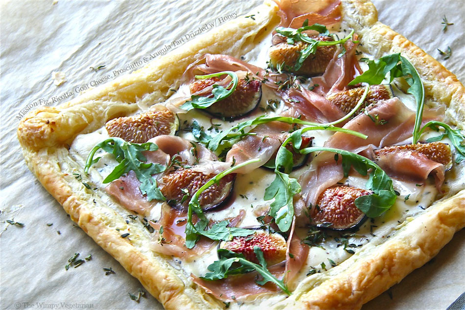 Mission Fig, Ricotta, Goat Cheese, Prosciutto and Arugula Tart Drizzled with Honey