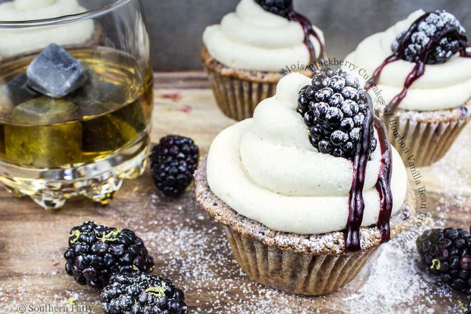 Moist Blackberry Cupcakes with Bourbon Vanilla Bean Frosting