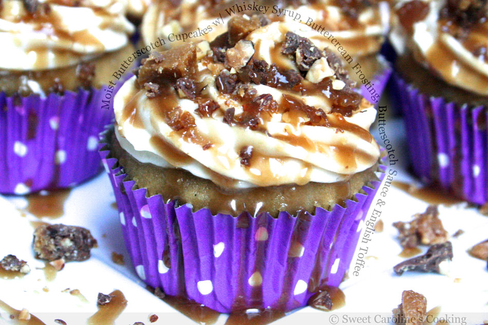 Moist Butterscotch Cupcakes with Whiskey Syrup, Buttercream Frosting, Butterscotch Sauce and English Toffee