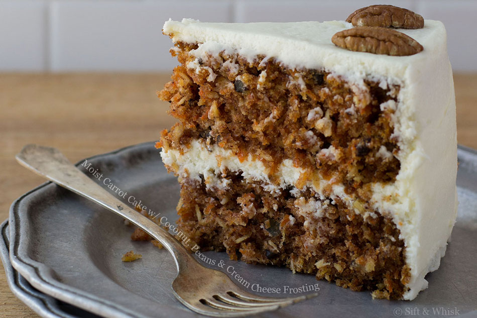 Moist Carrot Cake with Coconut, Pecans and Cream Cheese Frosting