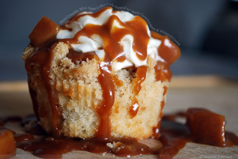 Moist Crumbly Mini Apple Coffee Cake Topped with Apple Caramel Sauce and Whipped Cream
