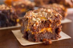 Moist Decadent Nutella Pumpkin Brownies with Chopped Pecans