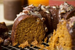 Moist Pumpkin Bundt Cake Topped with Pecan Pie Glaze