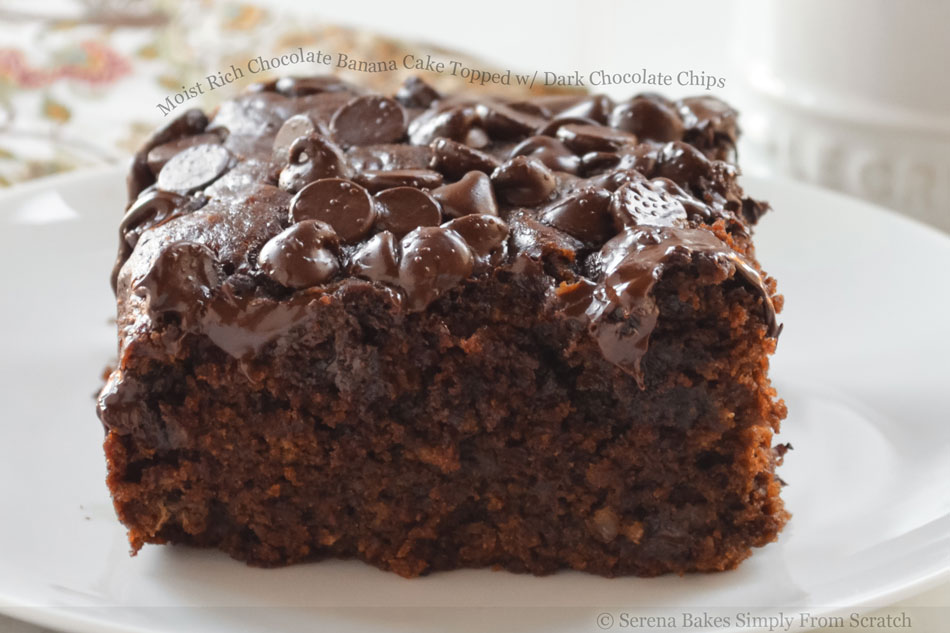 Moist Rich Chocolate Banana Cake Topped with Dark Chocolate Chips