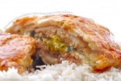 Moist Salmon en Croute Baked with Lemon Parsley Butter in Flaky Puff Pastry