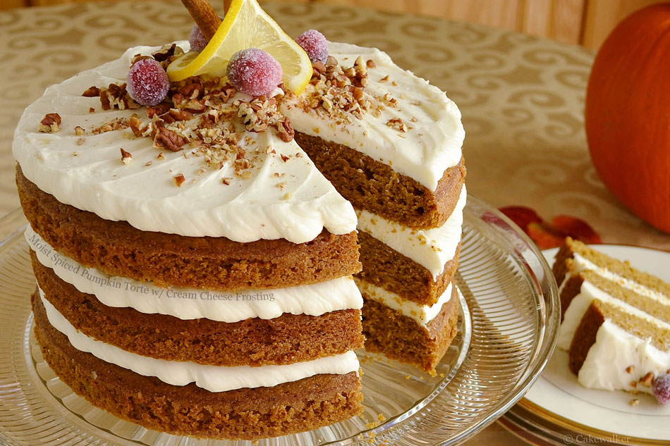 Moist Spiced Pumpkin Torte with Cream Cheese Frosting