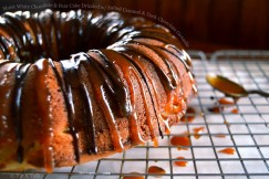 Moist White Chocolate and Pear Cake Drizzled with Salted Caramel and Dark Chocolate Ganache