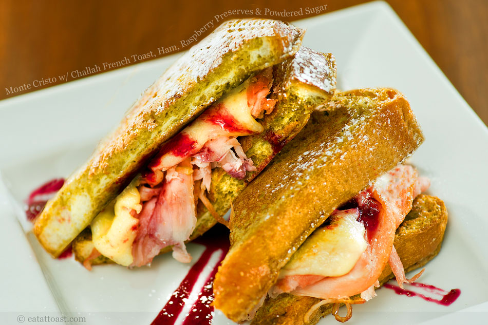 Monte Cristo with Challah French Toast, Ham, Raspberry Preserves and Powdered Sugar
