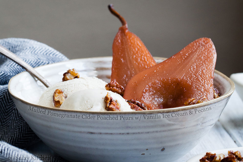 Mulled Pomegranate Cider Poached Pears with Vanilla Ice Cream and Pecans