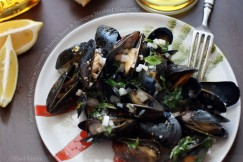 Mussels en Papillote with Creamy Whiskey Sauce and Tarragon Mustard Vinaigrette