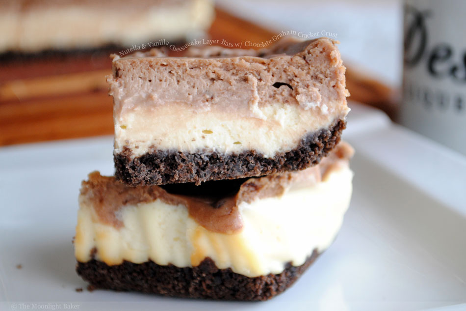 Nutella and Vanilla Cheesecake Layer Bars with Chocolate Graham Cracker Crust