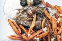 NY Strip Steak Frites with Horseradish Cream and Steak House Mushrooms