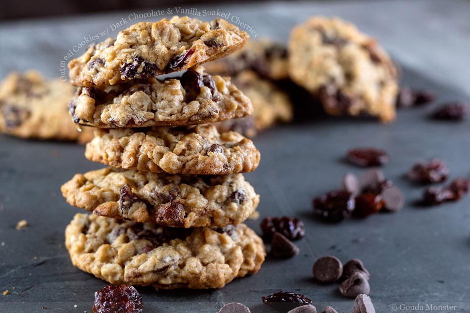 Oatmeal Cookies with Dark Chocolate and Vanilla Soaked Cherries