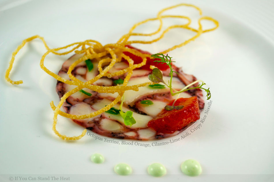 Octopus Terrine, Blood Orange, Cilantro-Lime Aioli, Crispy Rice Noodle