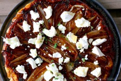 Onion Tarte Tatin with Crumbled Goat Cheese and Fresh Rosemary