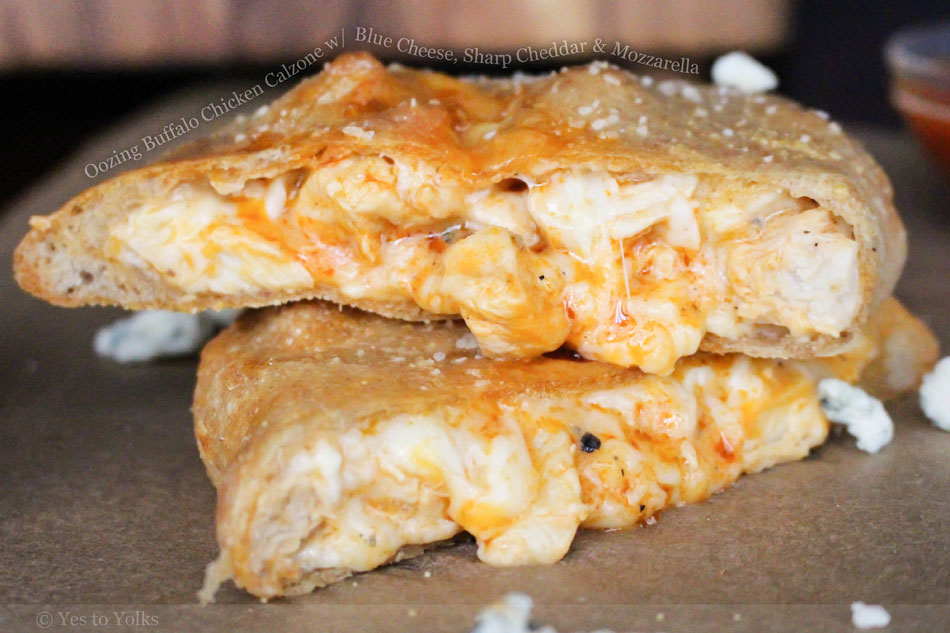 Oozing Buffalo Chicken Calzone with Blue Cheese, Sharp Cheddar and Mozzarella