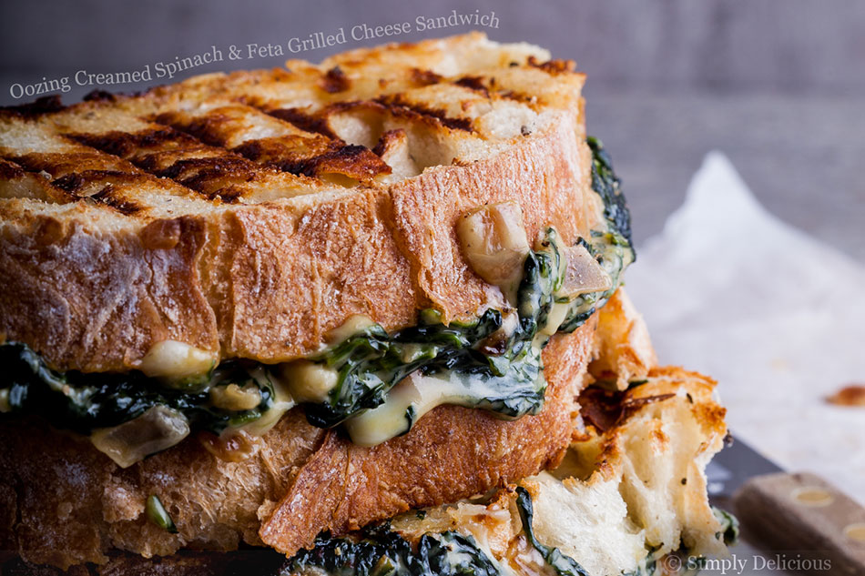 Oozing Creamed Spinach and Feta Grilled Cheese Sandwich