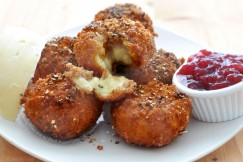 Oozing Fried Brie with Black Pepper Crumb and Cranberry Sauce