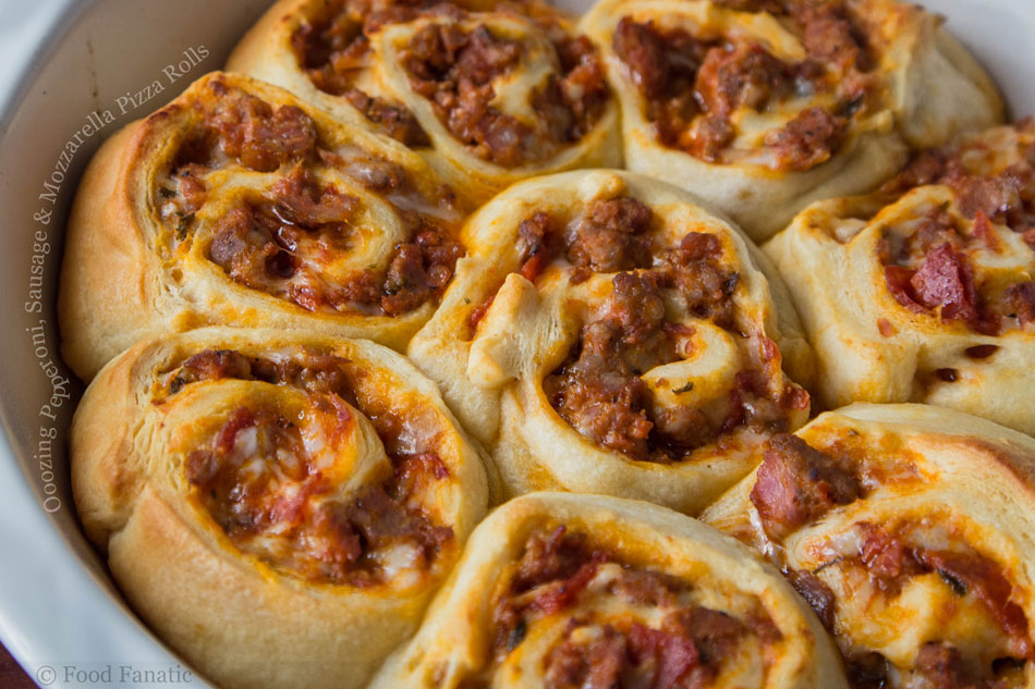 Oozing Pepperoni, Sausage and Mozzarella Pizza Rolls