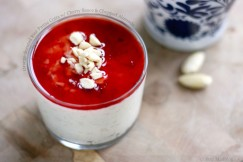 Orange-Scented Rice Panna Cotta with Cherry Sauce and Chopped Almonds