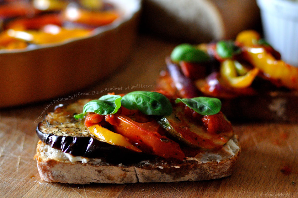 Oven-Roasted Ratatouille and Cream Cheese Sandwich with Basil Leaves