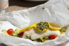 Pacific Cod with Lemon, Zucchini, Grape Tomatoes and Leeks en Papillote