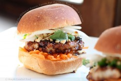 Pad Thai Sliders with Peanuts, Carrots, Pad Thai Sauce, Bean Sprouts and Cilantro