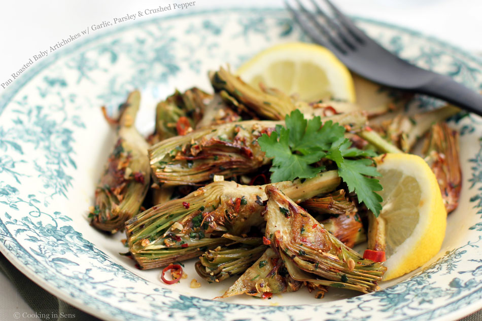Pan Roasted Baby Artichokes with Garlic, Parsley and Crushed Pepper