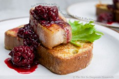 Pan-Seared Pork Belly, Beer Bread French Toast with Blackberry Compote