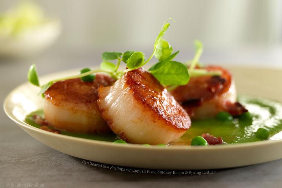 Seared Scallops With Bacon Recipe — Dishmaps