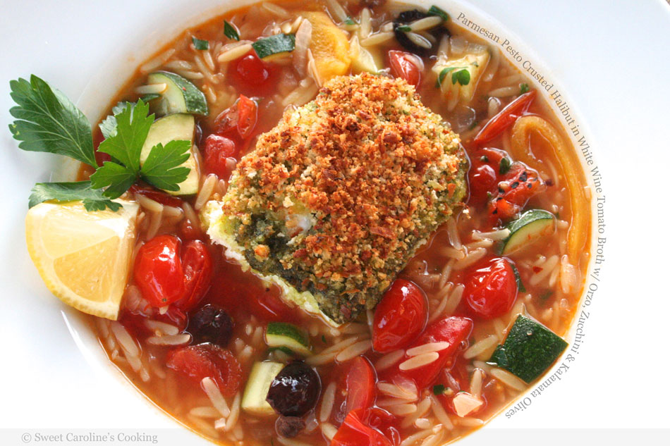 Parmesan Pesto Crusted Halibut in White Wine Tomato Broth with Orzo, Zucchini and Kalamata Olives