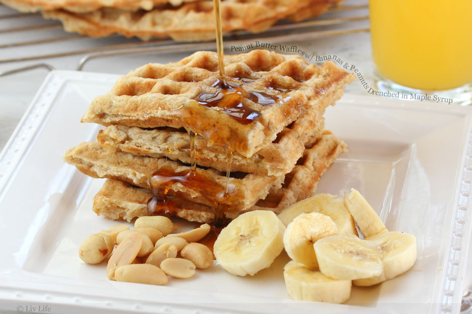 Peanut Butter Waffles with Bananas and Peanuts Drenched in Maple Syrup