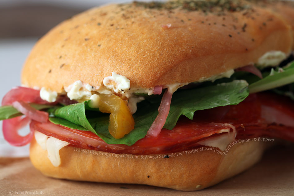 Toasted Pepperoni, Capicola Ham and Asiago Sandwich with Mascarpone and Pickled Onions and Peppers