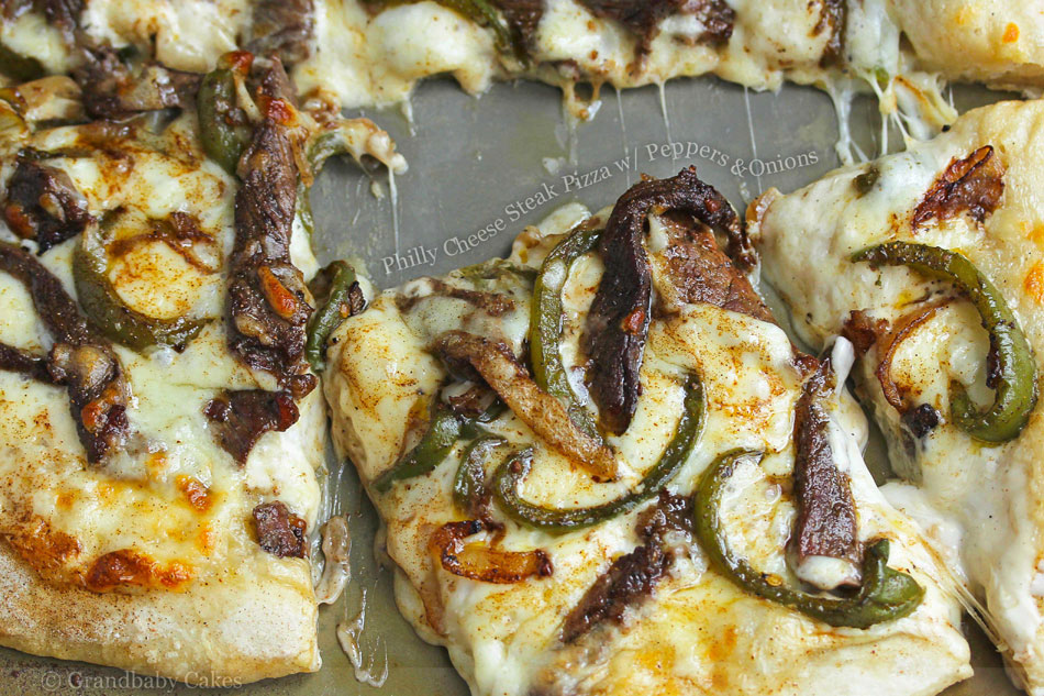 Philly Cheese Steak Pizza with Peppers and Onions