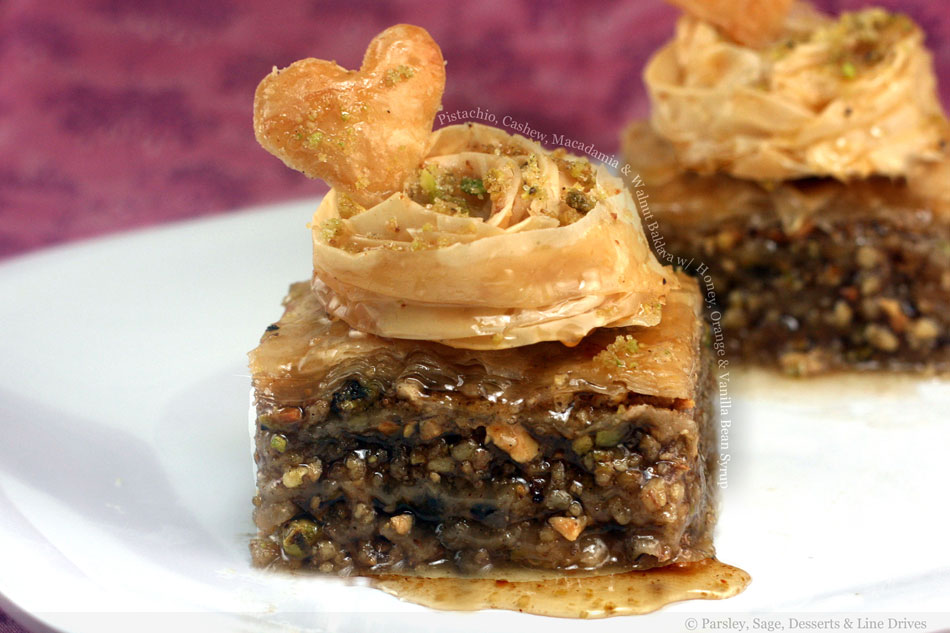Pistachio, Cashew, Macadamia and Walnut Baklava with Honey, Orange and Vanilla Bean Syrup