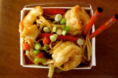 Plump Jumbo Shrimp Lo Mein with a Savory Sesame Ginger Sauce
