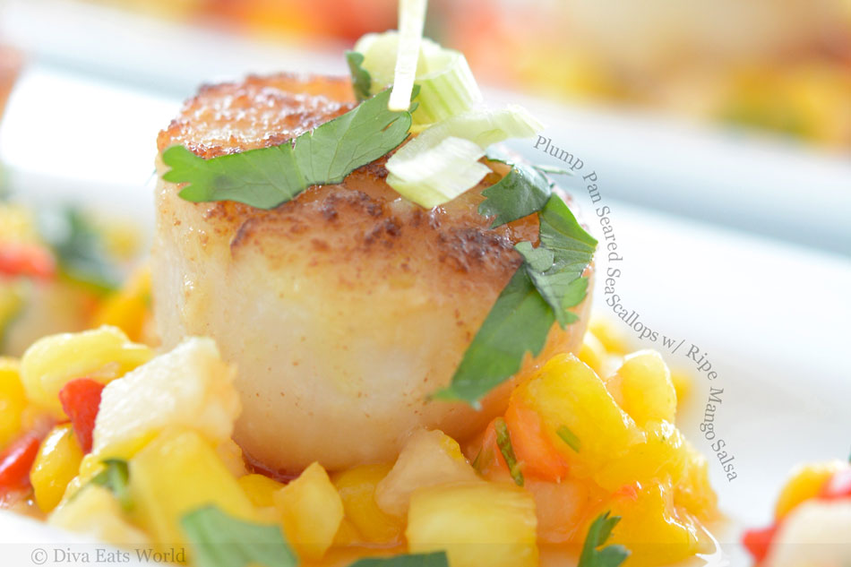 Plump Pan Seared Sea Scallops with Ripe Mango Salsa