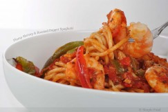 Plump Shrimp and Roasted Pepper Spaghetti