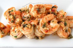 Plump Shrimp in a Spicy Garlic and Caper Lemon Butter Sauce