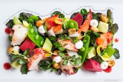 Poached Lobster, Lemon Vinaigrette, Pickled Rhubarb, Sugar Snap Peas, Red Watercress, Avocado, Tarragon Yogurt and Candied Peanuts