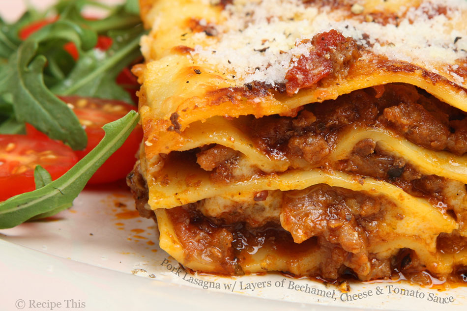 Pork Lasagna with Layers of Bechamel, Cheese and Tomato Sauce