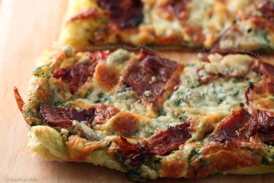 Puff Pastry Pizza with Applewood Smoked Bacon, Oven-Dried Tomatoes ...